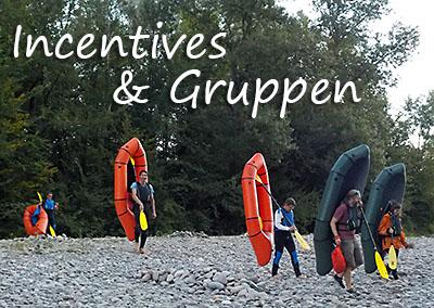 Gruppen, Incentives und Teambuilding mit Packraft-Schweiz
